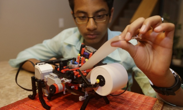 Shubham Banerjee, a 13 year old that built a low-cost Braille printer out of toy parts.