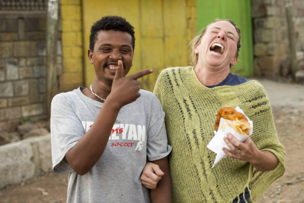 Alyssa Bray with a new-found friend in Ethiopia.