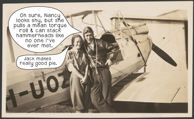 Australian aviators Nancy Bird and Jack Kingsford-Smith standing next to a de Havilland. Photo courtesy of the National Library of Australia.
