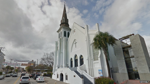 Emanuel African Methodist Episcopal Church in Charleston, where nine people were murdered on June 18, 2015. Photo courtesy of Google.